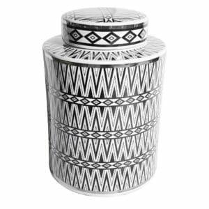 Pojemnik dekoracyjny Chevron Black/Silver wys.27,5cm