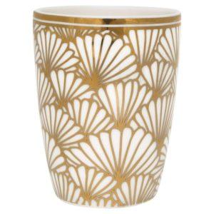 kubek do espresso porcelanowy złoto-biały-Home-Story