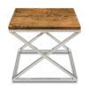 stoliczek boczny chrom cross 55x55 drewnianz blat cross home story atelier