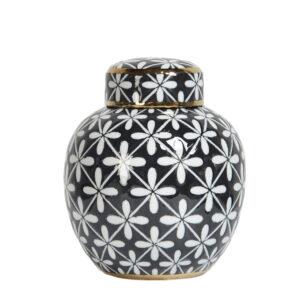 Ceramiczny pojemnik dekoracyjny Ambiente black niski Home Story Atelier