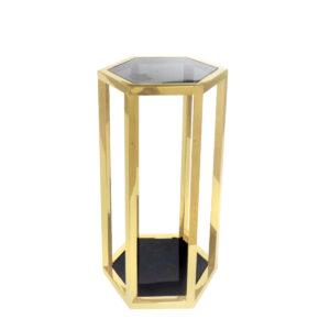 stolik heksagon złoty z transparentnym szkłem i półką lustrzaną hometory.pl